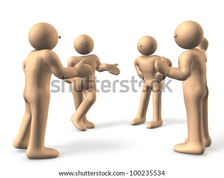 4 people are eager to discuss. Two people are excited, a person has been arbitration.This is a computer generated image,on white background.
