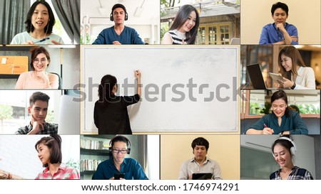 12 people attending online course while teacher writing on white board