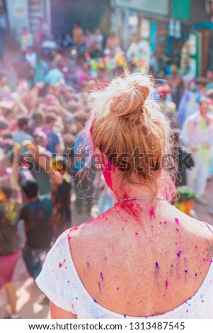 People covered in paint on Holi festival , People celebrating Holi festival