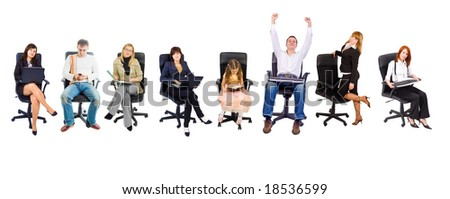 8 people in chairs