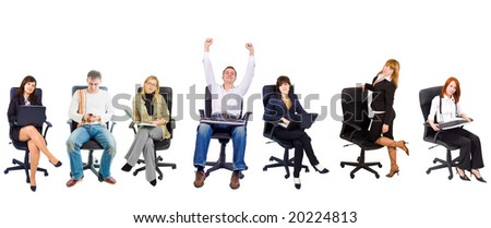 7 people in chairs - stock photo