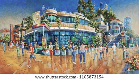 People on the beach promenade Lighthouse. Artistic work in bright and juicy colors. Painting: canvas, oil. Author: Nikolay Sivenkov.