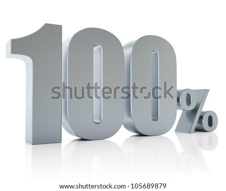 100 percent, 3D Rendering - stock photo