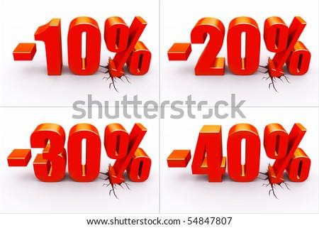 10, 20, 30, 40 percent discount