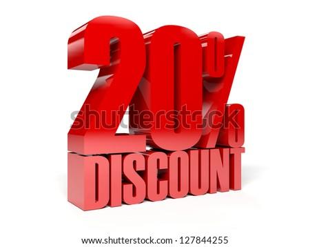 20 percent discount. Concept 3D illustration.