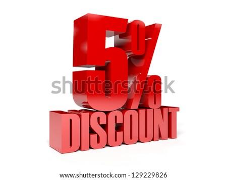 5 percent discount. Concept 3D illustration.