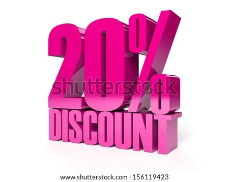 20 percent discount. Pink shiny text. Concept 3D illustration.