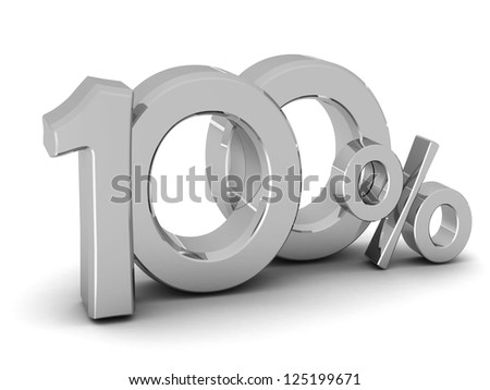 100 percent discount symbol SILVER color with reflection isolated white background. 3d illustration and business concept