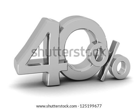 40 percent discount symbol SILVER color with reflection isolated white background. 3d illustration and business concept