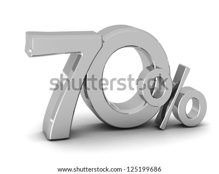 70 percent discount symbol SILVER color with reflection isolated white background. 3d illustration and business concept