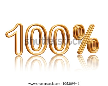 100 percent isolated 3d golden numbers with reflection
