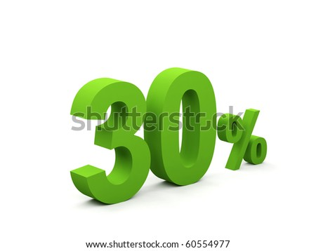 30 percent isolated on white background. 30%