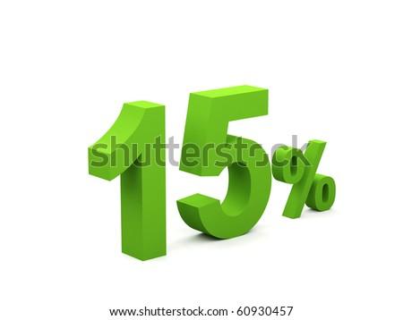15 percent isolated on white background. 15%