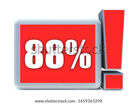 88 Percent off 3d Sign on White Background, Special Offer 88% Discount Tag, Sale Up to 88 Percent Off,big offer, Sale, Special Offer Label, Sticker, Tag, Cashback, Advertising, offer Icon