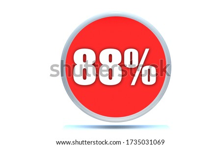 88 Percent off 3d Sign on White Background, Special Offer 88% Discount Tag, Sale Up to 88 Percent Off,big offer, Sale, Special Offer Label, Sticker, Tag, Cashback, Advertising.