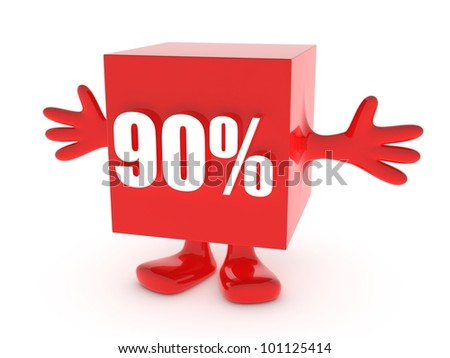 90 Percent off - discount happy figure - stock photo