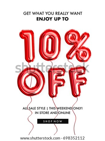 10 percent off discount promotion sale made of realistic 3d Red helium balloons. Illustration of balloon percent discount collection for your unique selling poster, banner ads ; Christmas, Xmas sale