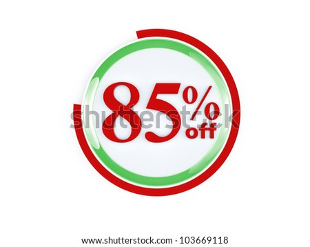 85 percent off glass isolated on white background