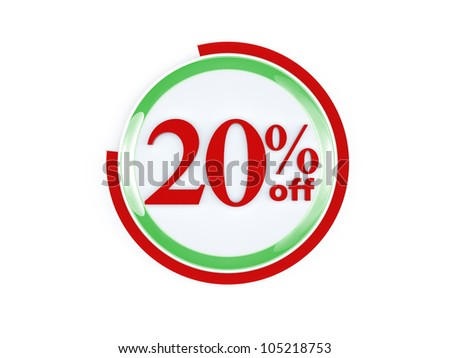 20 percent off glass isolated on white background