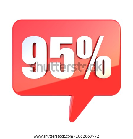 95 percent off sign on glossy red rectangle bubble isolated on white background 3D render