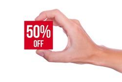 50 Percent off symbol handheld isolated on white background