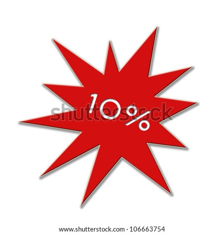 10 percent price tag - stock photo