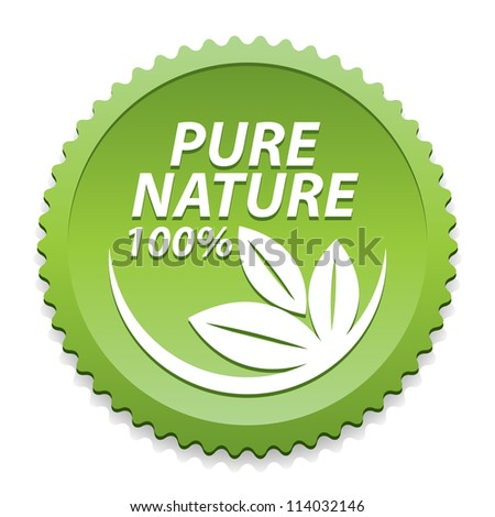 100 Percent Pure Nature Green Sign with white three leaves logo