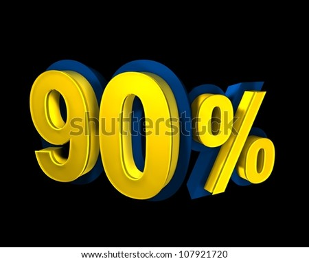 90 percent rendered in gold 3D letters on a black background