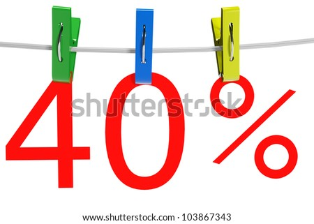40 percent sale symbol with the clothespins on a white background