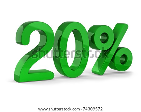 20 percent sign of sale