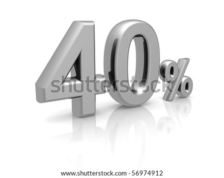 40 percents discount symbol with reflection isolated white background