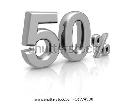 50 percents discount symbol with reflection isolated white background
