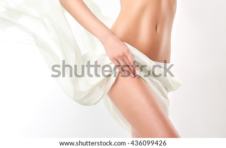 Shutterstock  Perfect slim toned young body of the girl . An example of sports , fitness or plastic surgery and aesthetic cosmetology.
