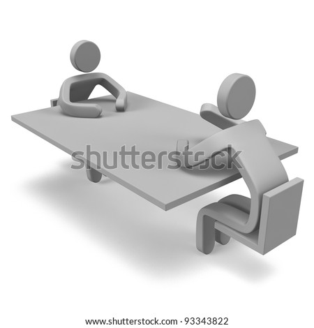 2 Persons Who Are Talking On The Table