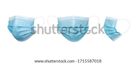 3 perspective blue color Surgical mask in isolated