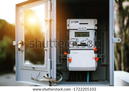 3 phase digital electric meter, measuring power consumption Installed on high-voltage electricity poles. Electricity measuring tools, watt-hour has a numerical display of energy consumption.