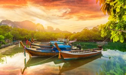 Phi Phi island at sunset time, Thailand