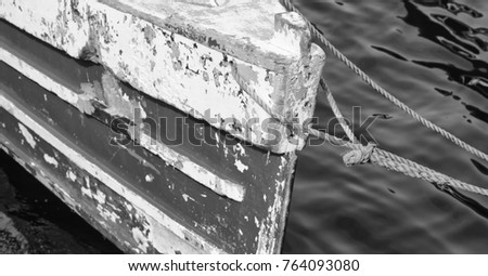 philippines old dirty prow of a boat in the port like abstract  #764093080