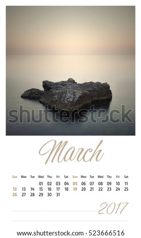 2017 photo calendar with minimalist landscape. March.