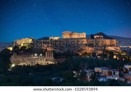 Photo from Philopapou hill with views to Herodium , Acropolis and the Parthenon at blue hour, Attica, Greece , 08 February 2018