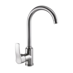 Photo of a stainless steel faucet for the kitchen and washbasin on a white background. Top class sanitary ware for every taste and interior.