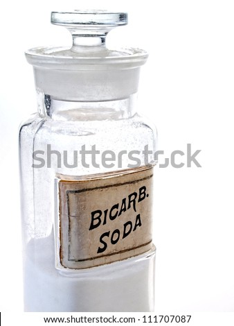 Photo of old time pharmacy bottle of Bicarb. Soda.