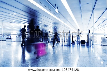 Photo: passenger in the shanghai pudong airport.interior of the airport. - stock photo