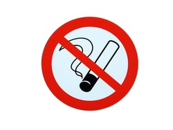 Photo sticker - No smoking sign isolated on white background.