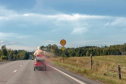 (Photomanipulation) Speeding electric wheelchair on the highway. i feel the need the need for speed. fast vehicle