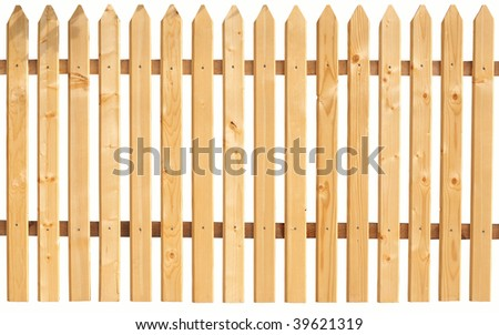 Picket fence isolated on white.  You can replicate it left and right any times.