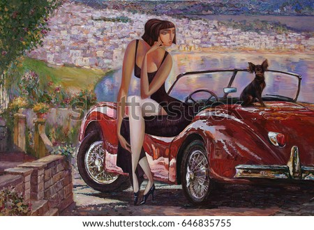 picture, girl, lady with a  retro car, classic car, looking for partnerships with artdillers, oil painting, artist Roman Nogin,sale original - contact facebook