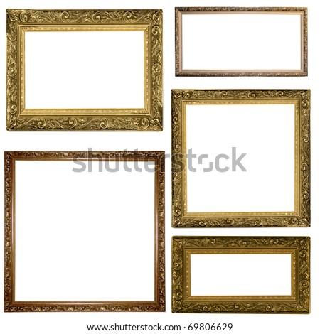 picture gold frames with a decorative pattern on white