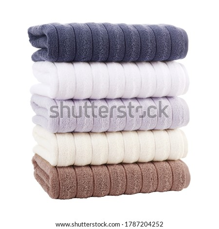 5 Piece Gray Plush Bath Towels Set Isolated. Close-Up Shot Woven Terrycloth. Brand New Hotel & Spa Cotton Soft Beautiful Design Kitchen Towels. Five Piece 100 Cotton Ultra Absorbent Terry Hand Towel Stockfoto ©