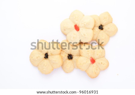 5 pieces of cookie isolated on white background
